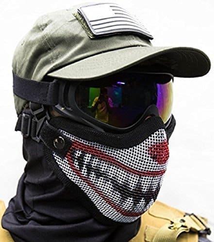 Custom Welding Helmets >> Airsoft Mask Steel Mesh Half Protection Shield Skull | CLOWN - HelmetFellas