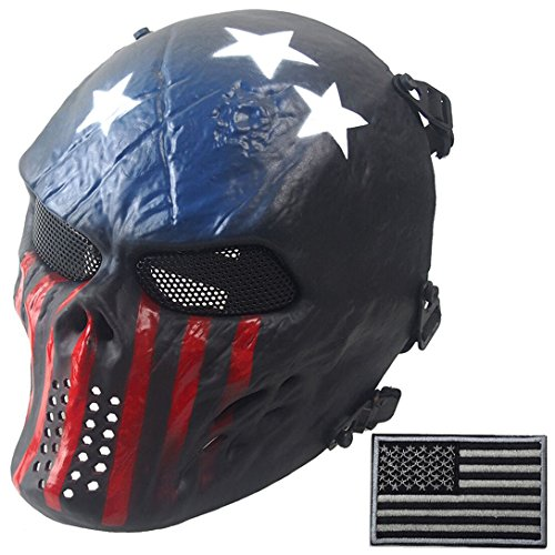 Wwman Full Face Skull Airsoft Mask and Military Patch ...