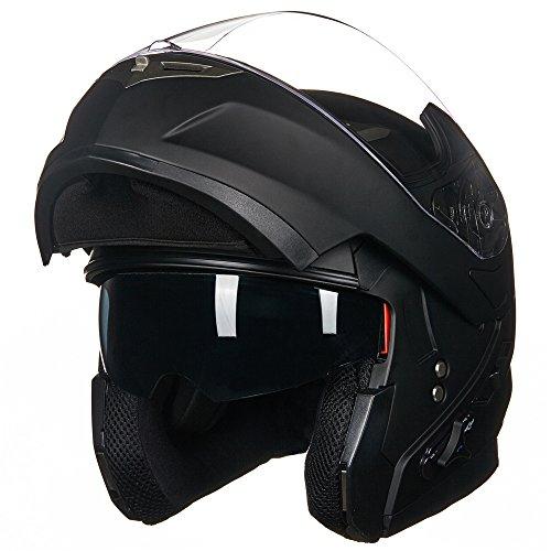 ILM-Bluetooth-Integrated-Modular-Flip-up-Full-Face-Motorcycle-Helmet-Sun-Shield-Mp3-Intercom-M-MATTE-BLACK-0-0