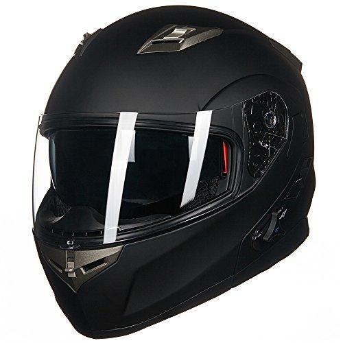 ILM-Bluetooth-Integrated-Modular-Flip-up-Full-Face-Motorcycle-Helmet-Sun-Shield-Mp3-Intercom-M-MATTE-BLACK-0-1
