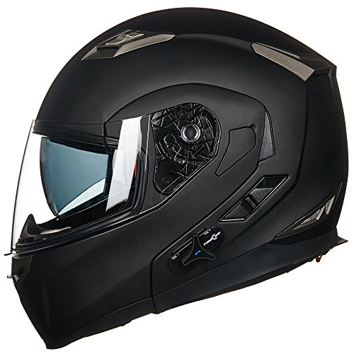 ILM-Bluetooth-Integrated-Modular-Flip-up-Full-Face-Motorcycle-Helmet-Sun-Shield-Mp3-Intercom-M-MATTE-BLACK-0